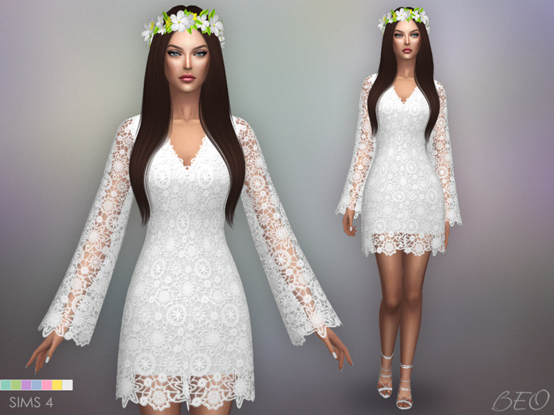 Bohemian wedding dress for The Sims 4 by BEO