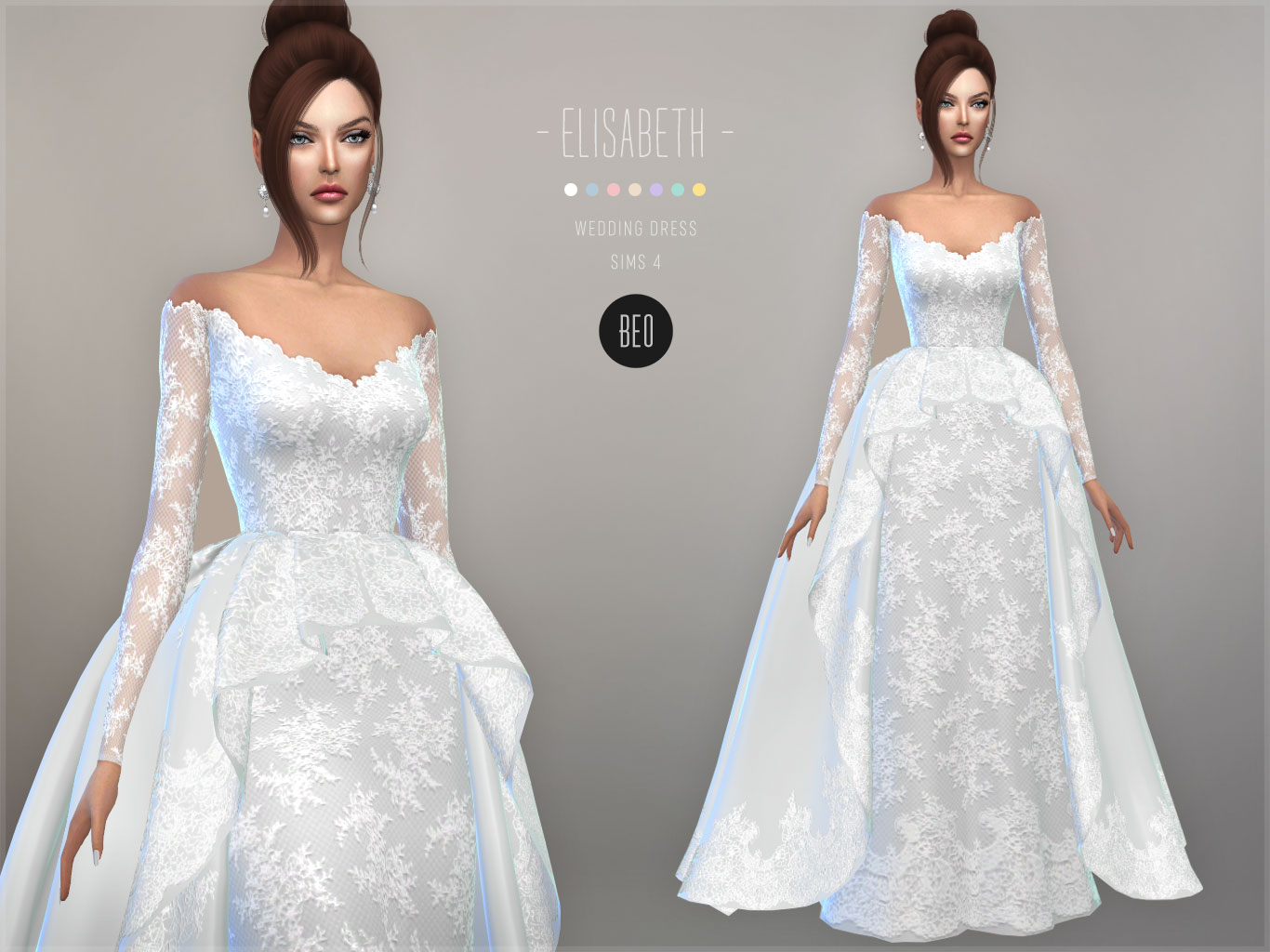Wedding gown - Elisabeth for The Sims 4 by BEO