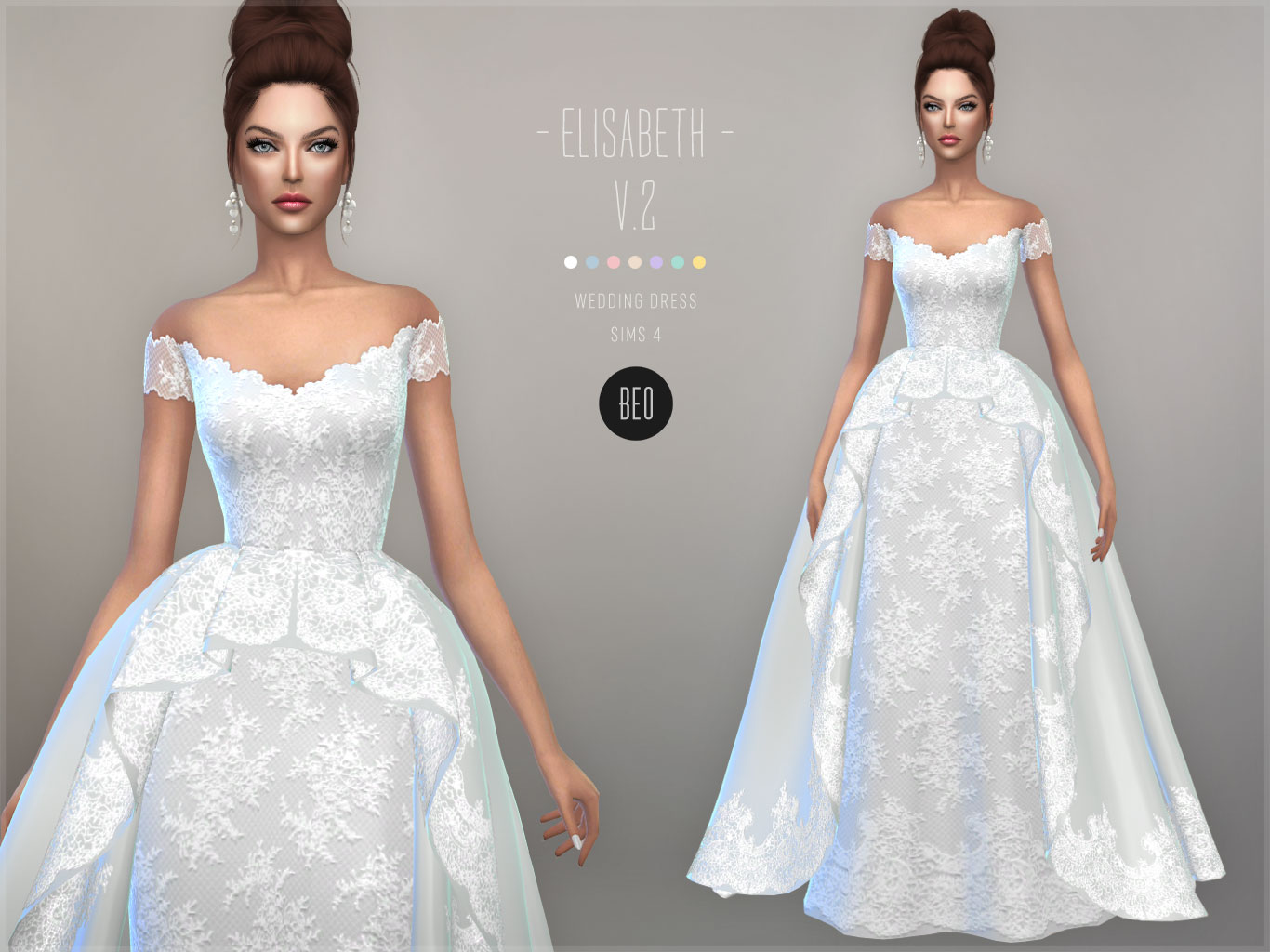Wedding gown - Elisabeth V.2 for The Sims 4 by BEO